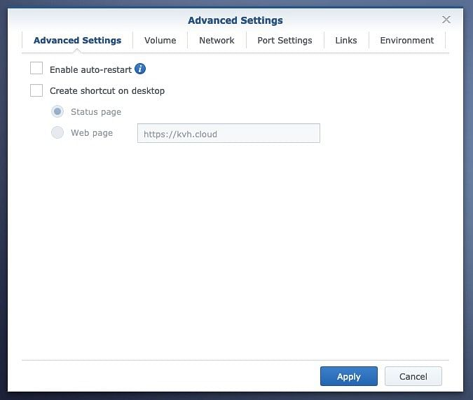 YouTrack container configuration - advanced settings