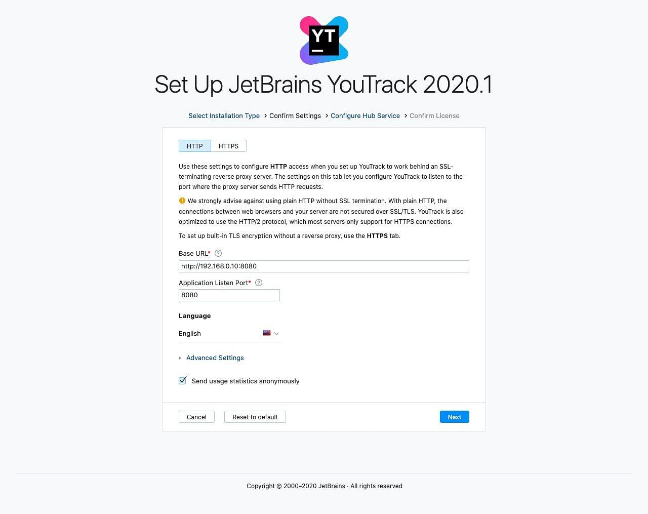 YouTrack setup host settings